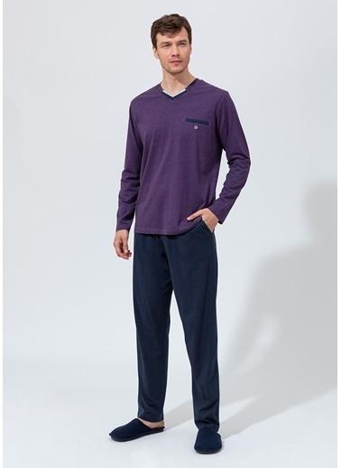 Dagi V Yaka Uzun Kollu Pijama Takımı Mor